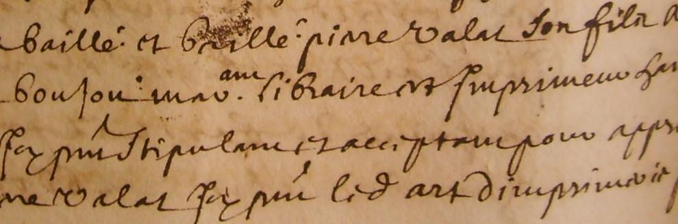 ADH, 2E 14/242, f°191, apprentissage avec l'imprimeur Damien Boujon (1690)