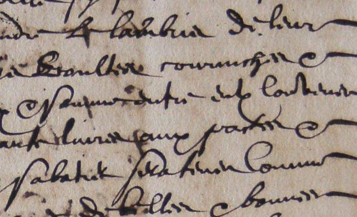 ADH, 2E 97/147, ff.32-34, prix-fait de la peinture du lambris de la chapelle des péninents noirs de Béziers passé à Antoine Sabatier