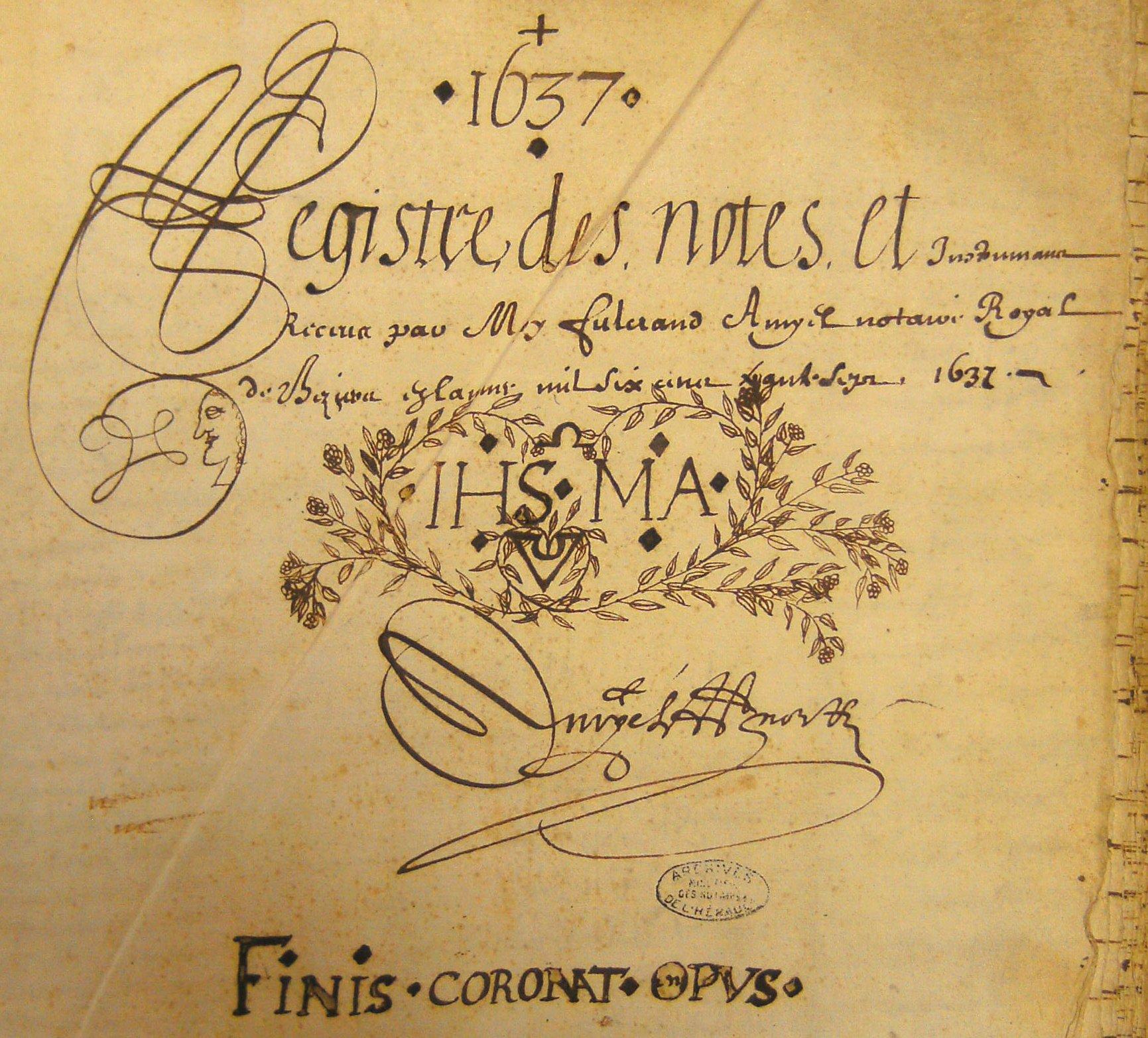 ADH, 2E 13/4, Me Amiel, notaire à Béziers