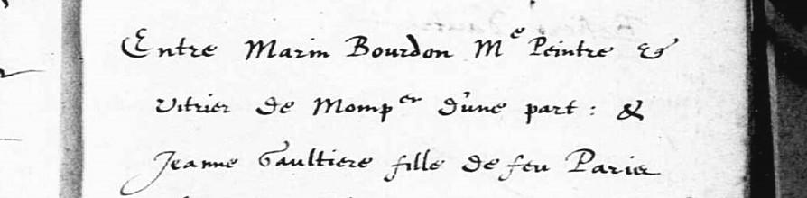 Promesse de mariage des parents de Sébastien Bourdon le 21 novembre 1610 au temple de Montpellier
